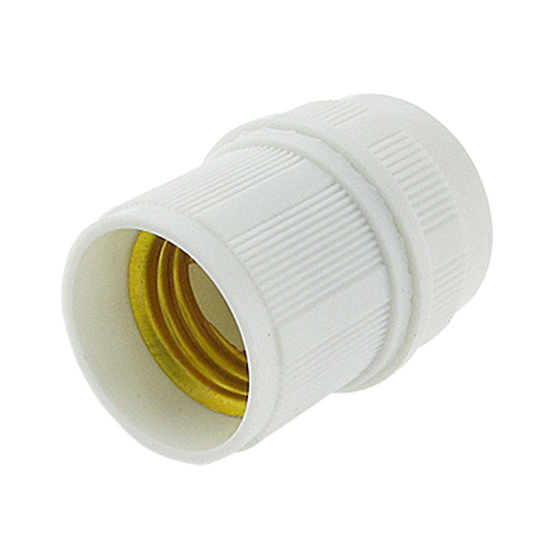 Gold Tone Plated Light Bulb Lamp E27 Socket Holder White