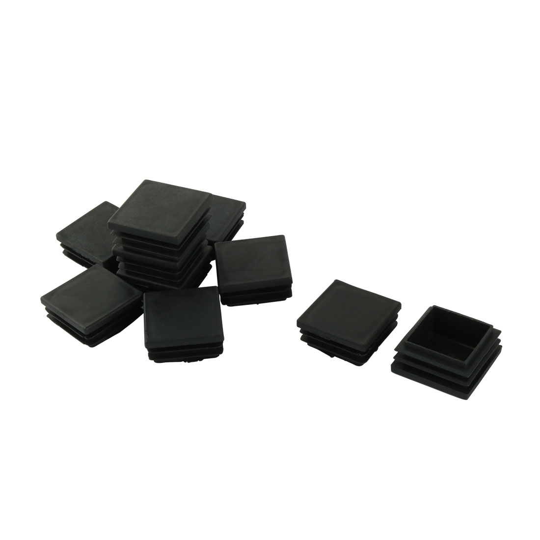 38mm x 38mm Plastic Square Tube Inserts End Blanking Cap Black 10 Pcs