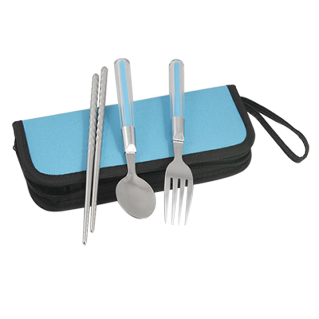 Lovers Blue Zippered Bag Plastic Handle Spoon Fork Chopsticks Sets