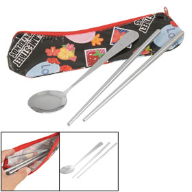Smile Face Star Pattern Handle Spoon Chopsticks Tableware Set w Black Bag