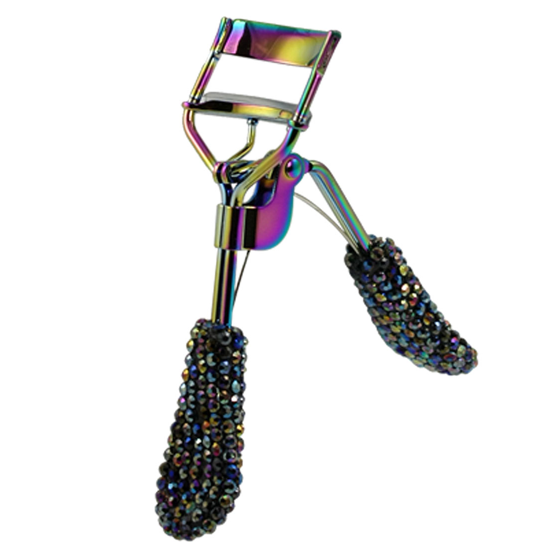Women Colorful Glitter Crystal Accent Handle Eyelash Curler Beauty Tool