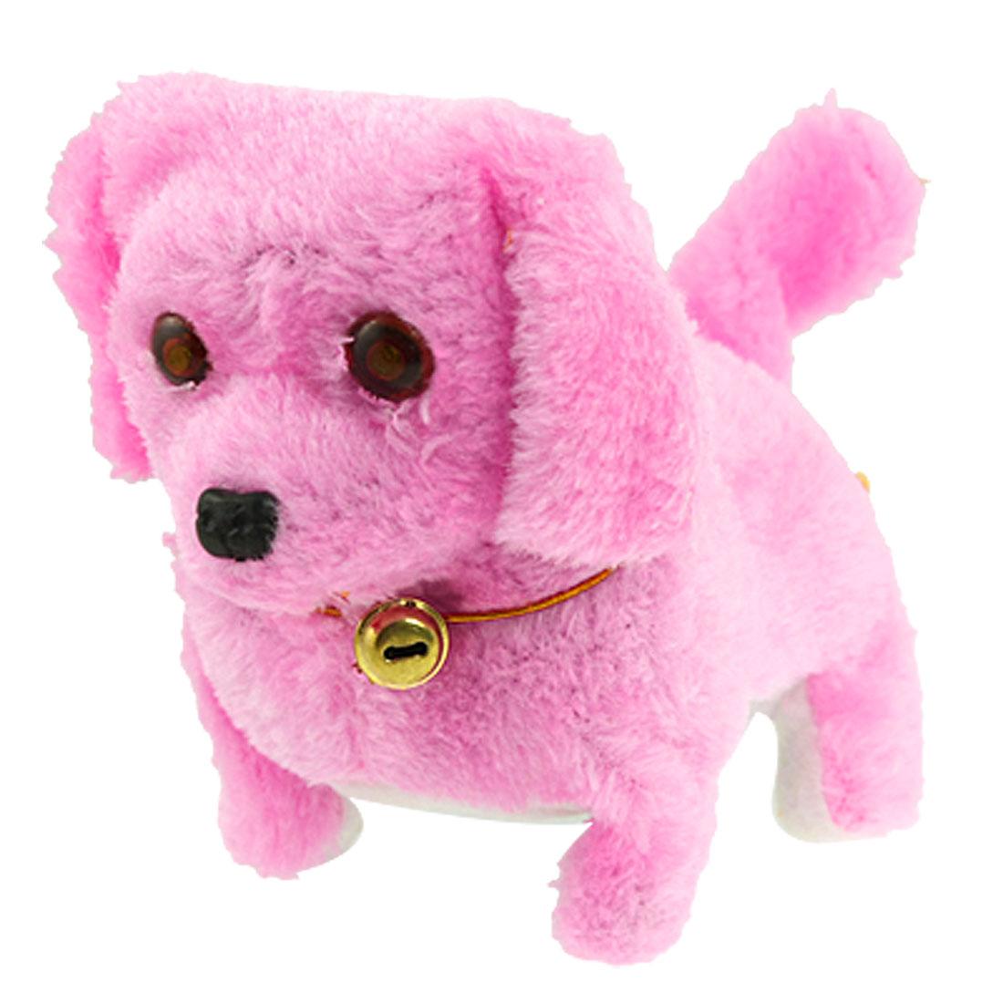 Pink Plush Neck Bell Walking Barking Electronic Dog Toy Gift