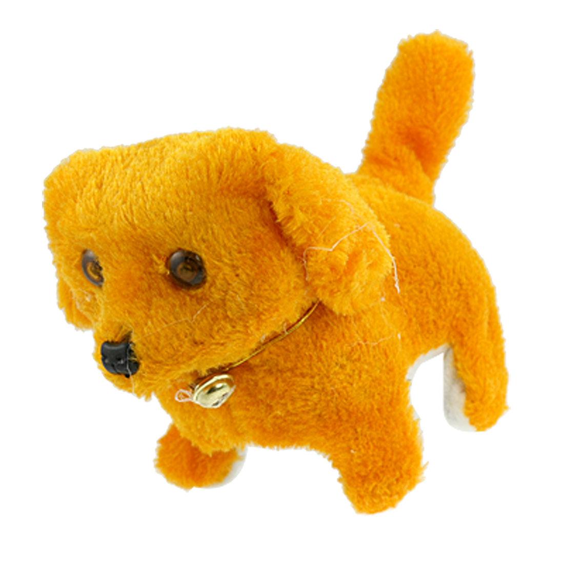Child Orange Plush Battery Powered Walk Cartoon Dog Toy Gift