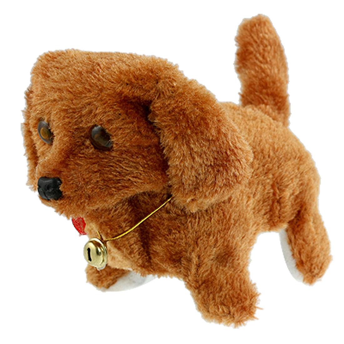 Brown Plush Neck Bell Walking Barking Electronic Dog Toy