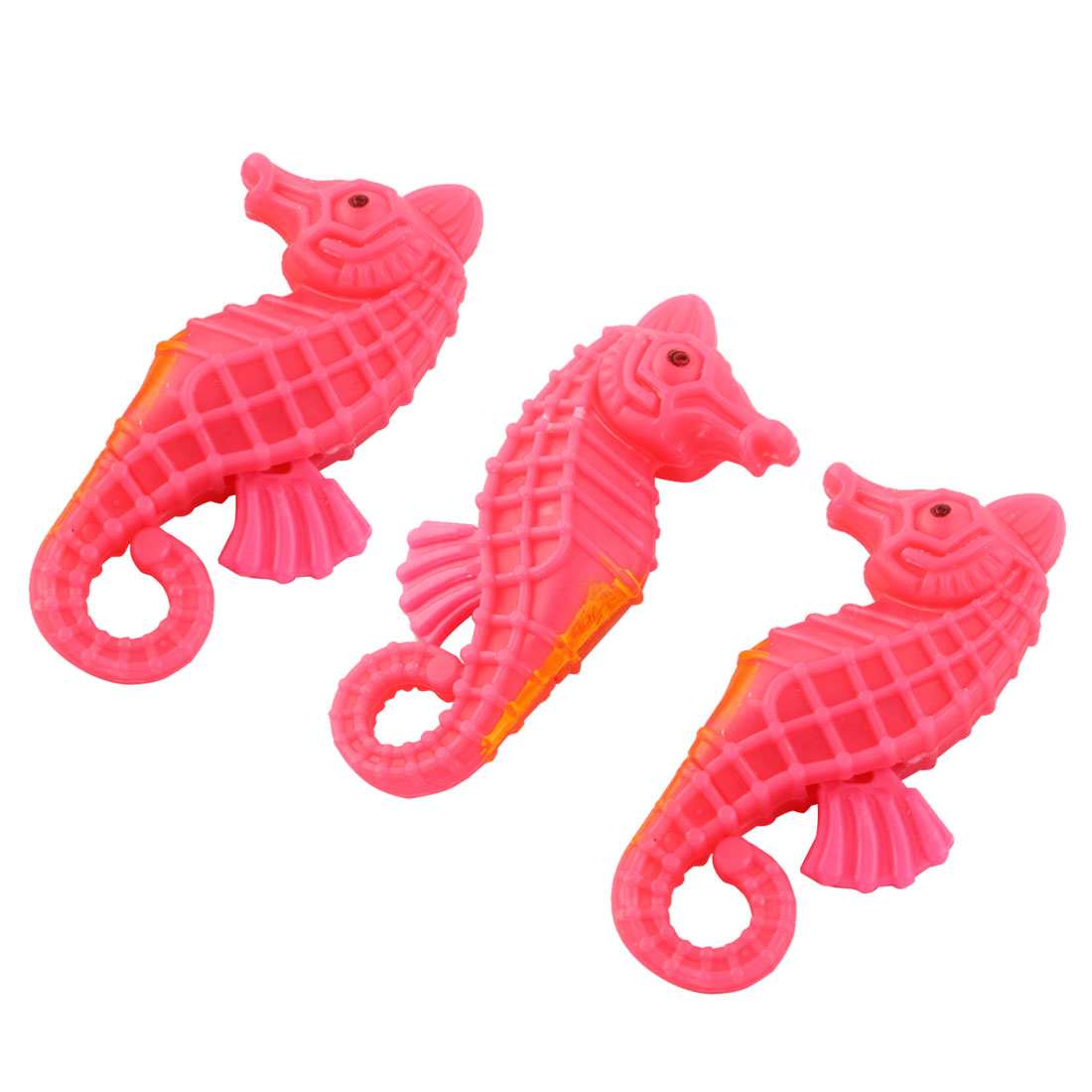 Fish Tank Aquarium Plastic Artificial Seahorses Pink Orange 2.2 Inch Long 3 Pcs