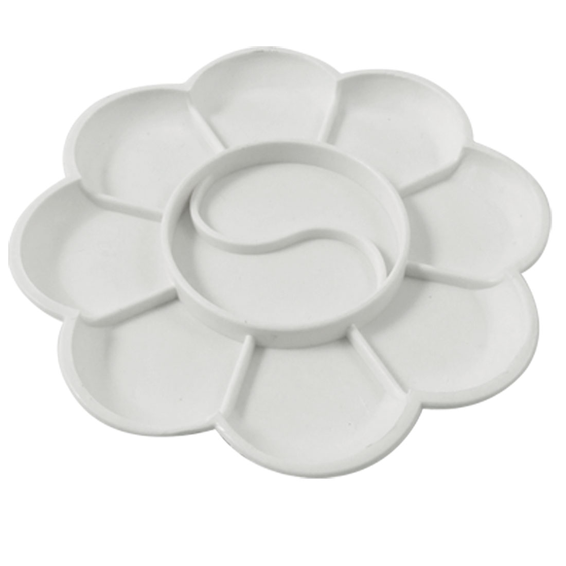 Plastic 10 Compartment Watercolor Mixing Plate Paint Palette White Ofmsd
