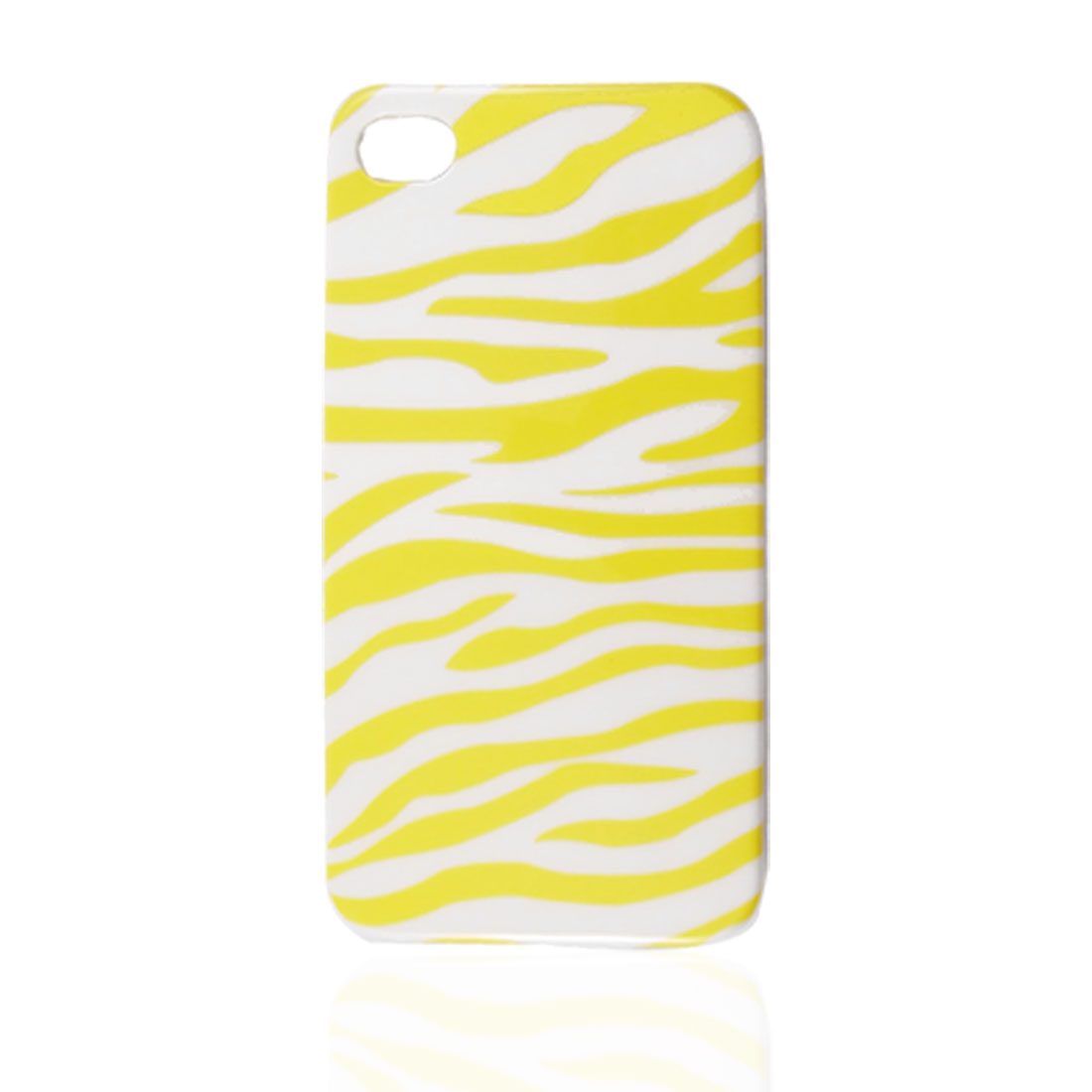 Yellow White IMD Plastic Zebra Printed Back Case Cover Shell for Apple iPhone 4 4G 4GS