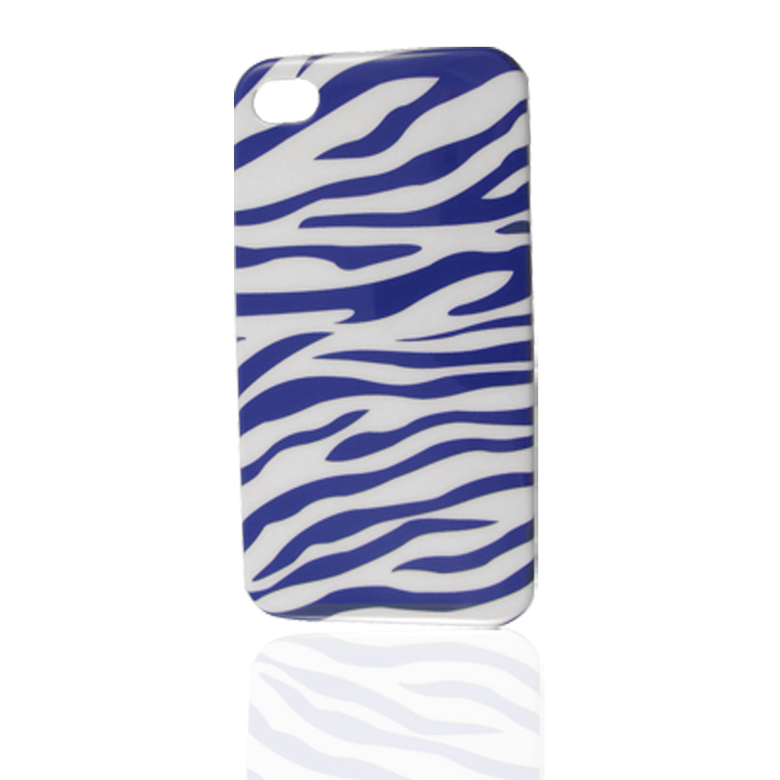 Hard Plastic IMD Zebra Pattern Back Case Guard Shell White Blue for iPhone 4 4G 4GS