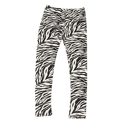 Black White Zebra Stripes Stretchy Leggings Pants for Woman S