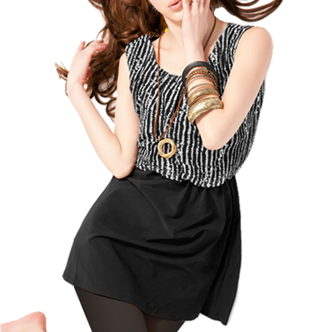 Women Seqiun Decor White Striped Elastic Waist Black Tank Top XS