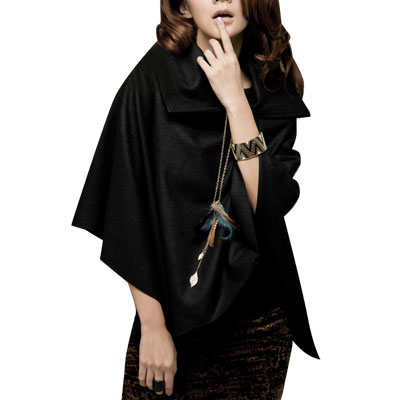 Metal Zipped Wide Collar Black Worsted Poncho Coat for Woman S