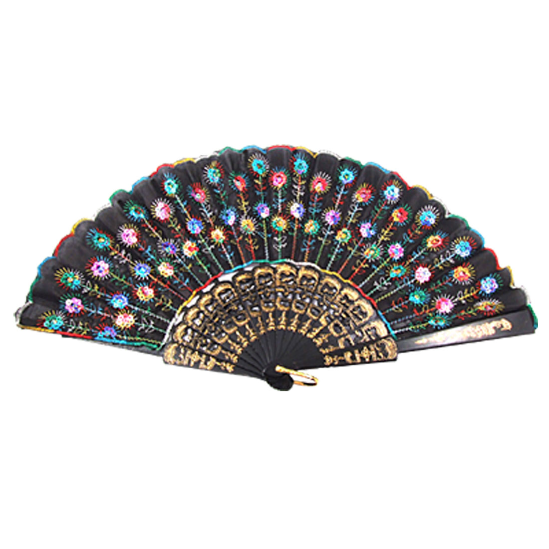 Pastel Sequin Black Plastic Ribs Foldup Dancing Hand Fan