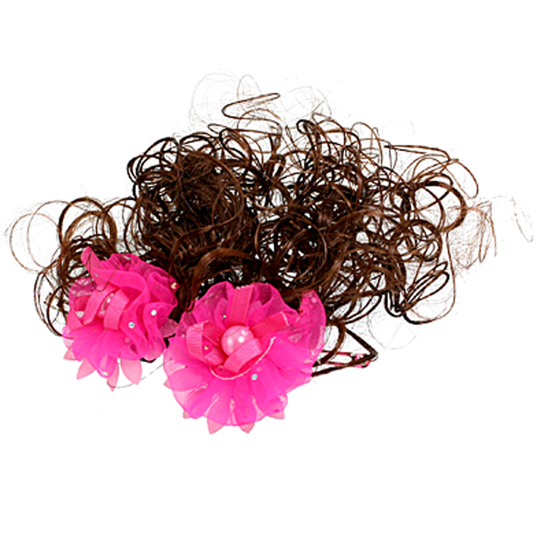 Girls Shocking Pink Flower Decor Brown Curly Wig Hairpieces Hair Clips Pair