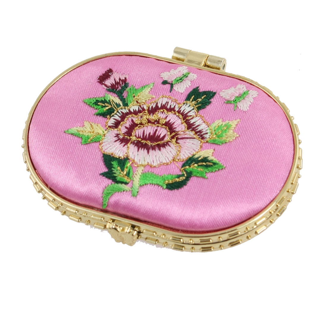 Embroidered Floral Decor Ellipse Double Side Padded Makeup Mirror Pink