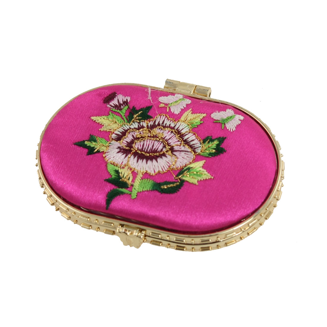 Gold Tone Hem Butterfly Button Closure Fuchsia Folding Makeup Mirror