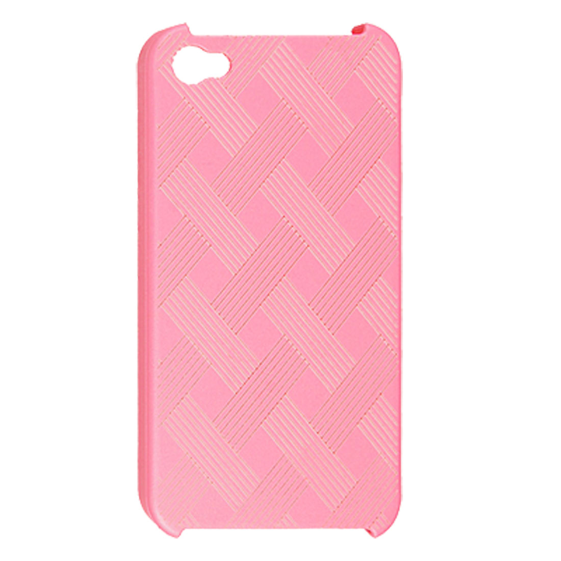 Intertwined Mesh Stripe Design Pink Back Shell Cover for iPhone 4S