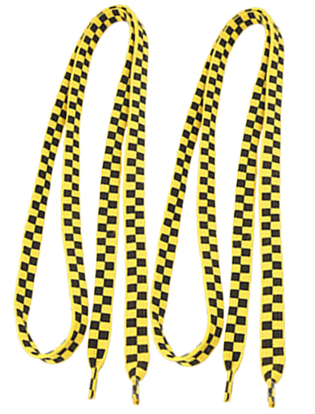 2 Pcs Yellow Black Plaids Pattern Polyester Nylon Shoelaces for Canvas Shoes