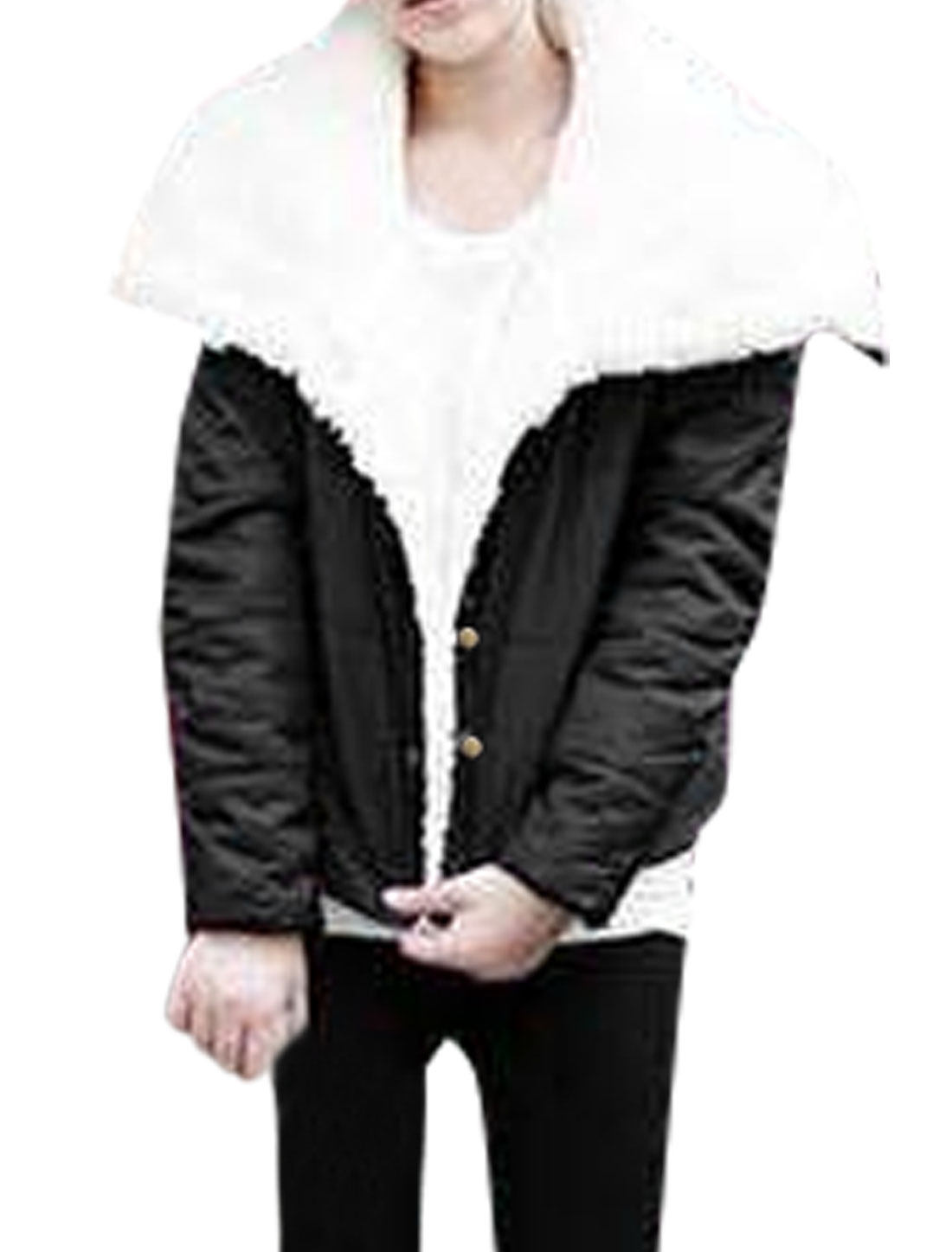 Women White Fleece Lining Black Button Closure Warm Coat XS