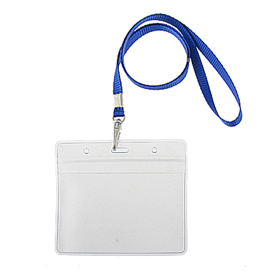 2 Pcs PVC Exhibition Name Cards Holders w Blue Lanyard