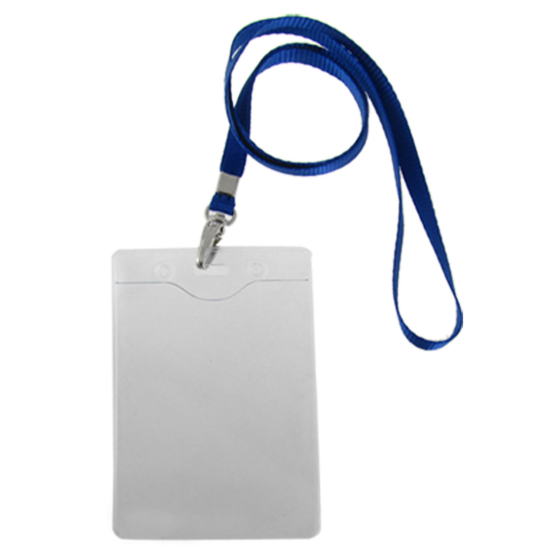 Blue Lanyard Clear Vertical Exhibition IC ID Name Cards Holders 2 Pcs