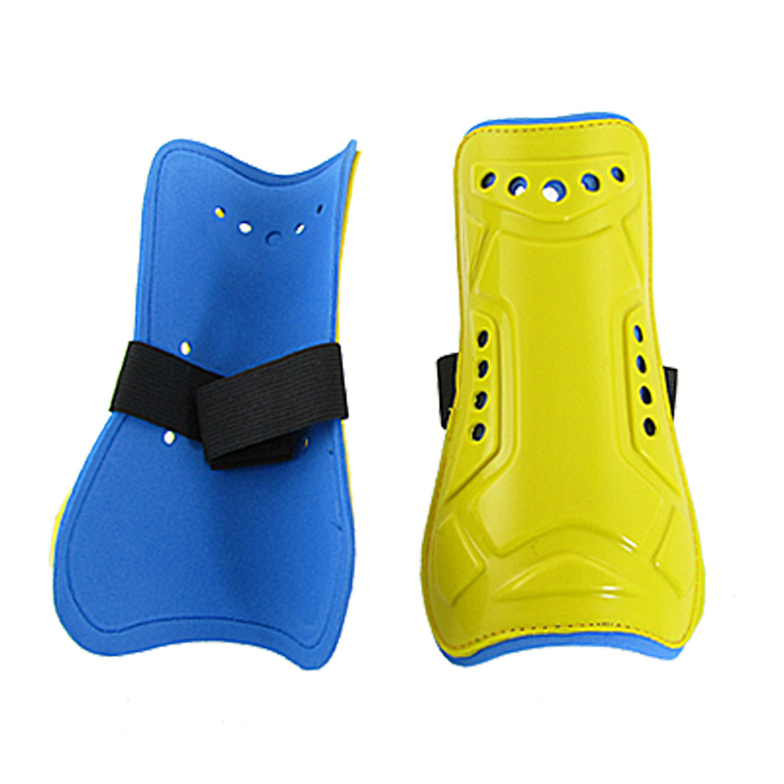 Yellow Blue Plastic Foam Calf Protector Shin Support 2 Pcs