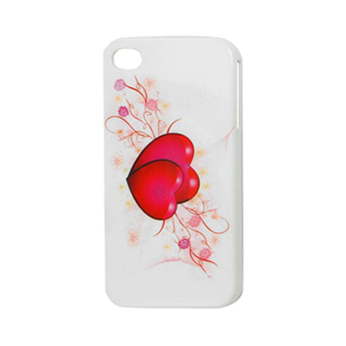 Double Red Fuchsia Heart White Hard Plastic IMD Back Case for iPhone 4 4G