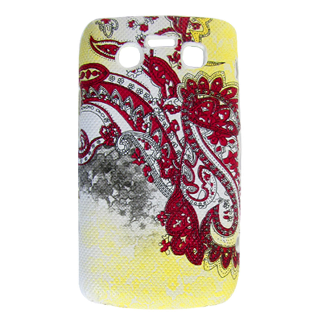 Yellow Red Paisley Faux Leather Coated Plastic Cover for BlackBerry 9700