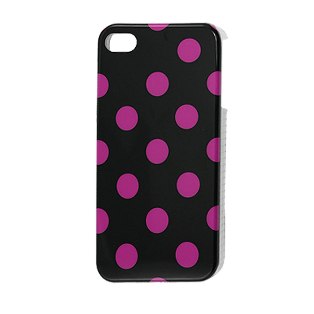 Fuchsia Dotted Black Hard Plastic IMD Back Case for iPhone 4 4G 4S