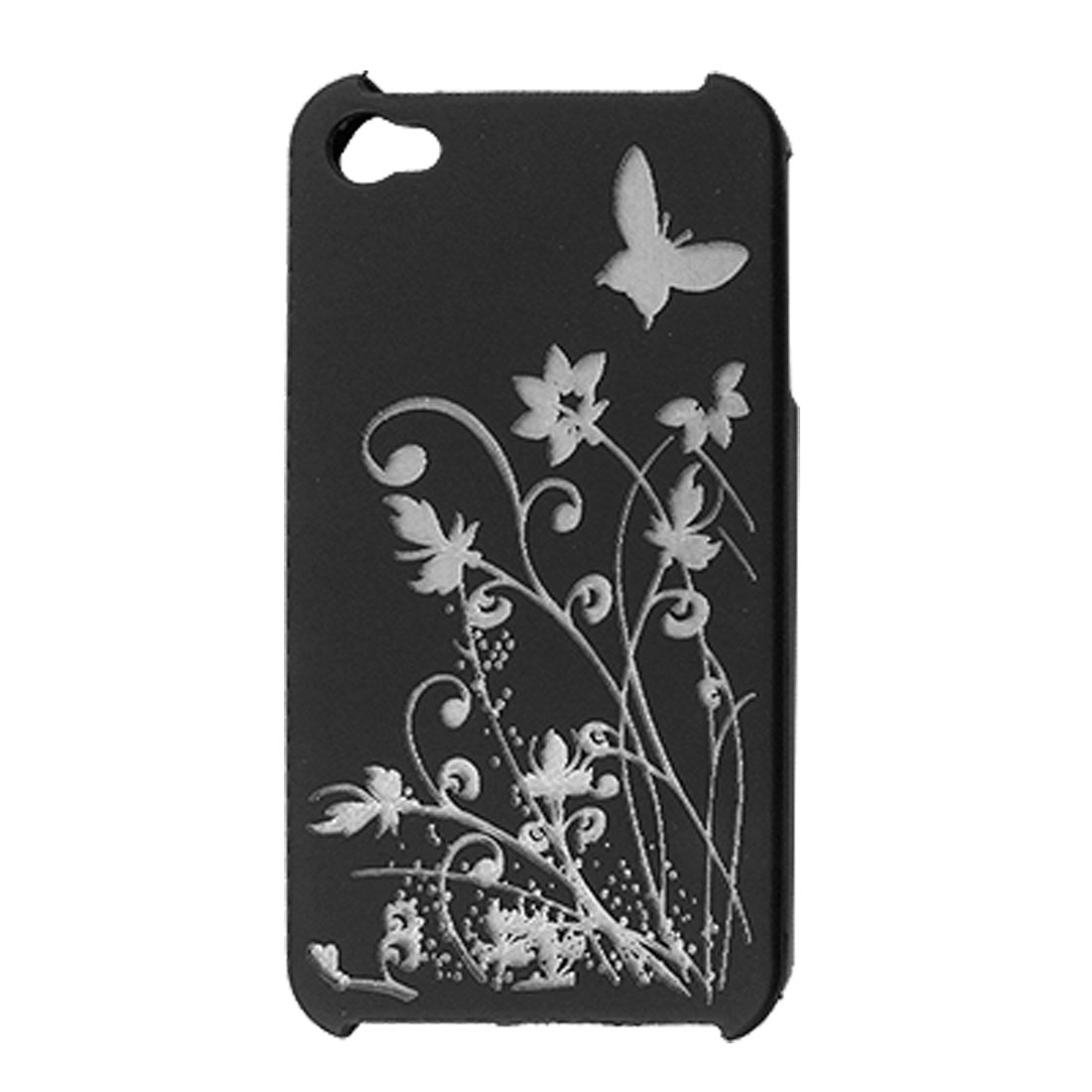 Black Rubberized Plastic Laser-cut Floral Cover for iPhone 4 4G
