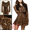 Black Leopard Prints Brown Knit Long Sleeve Mini Dress w Strap for Woman XS