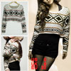 Women Black Heart Rhoumbus Pattern White Knitted Crop Sweater XS
