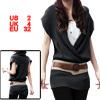 Dark Gray Knitting Cross V Neck Stretchy Tunic Shirt XS for Women