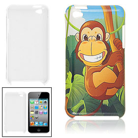 Hard Plastic Monkey Print IMD Back Case Cover for iPod Touch 4