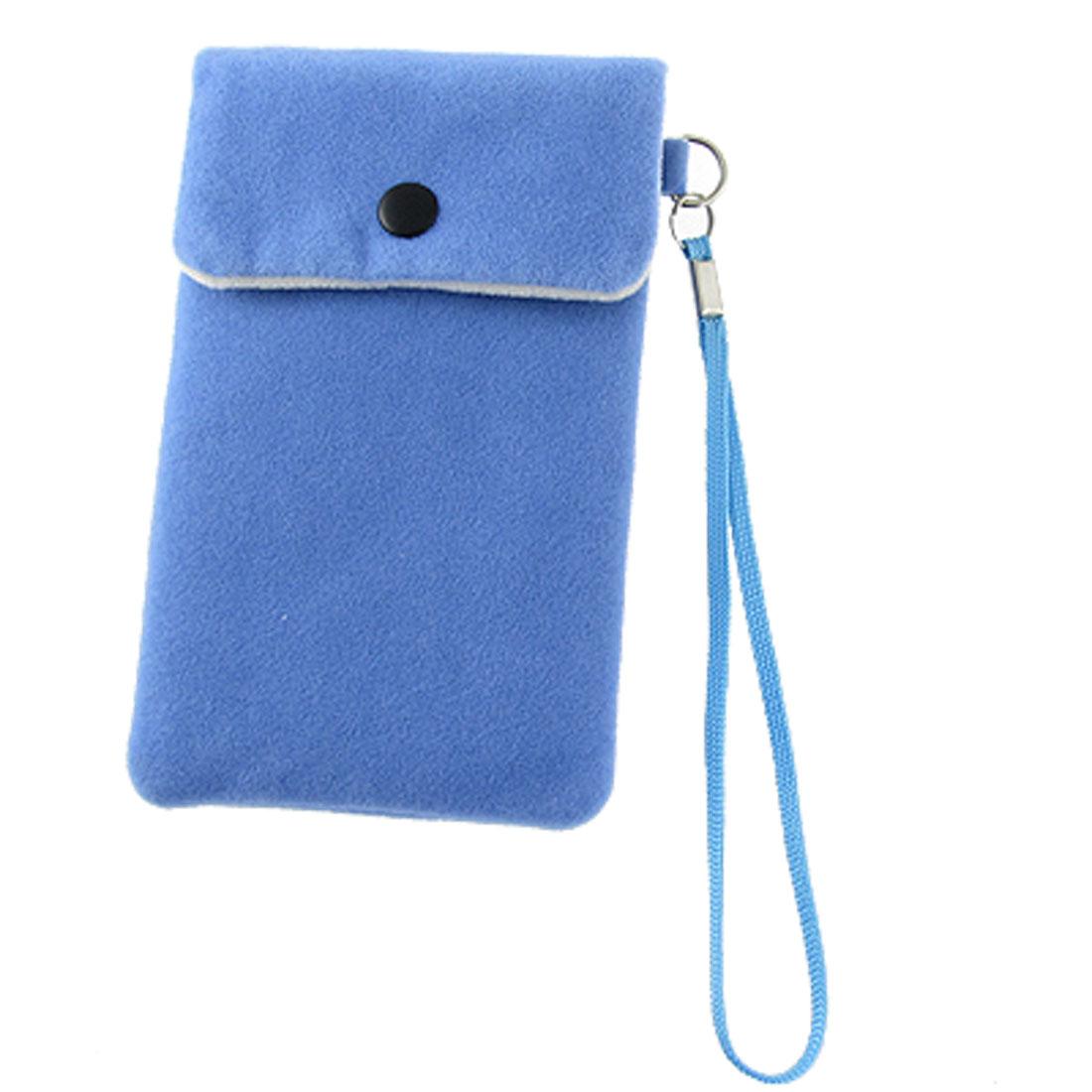 Push Button Sky Blue Velvet Pouch Bag for Cell Phone