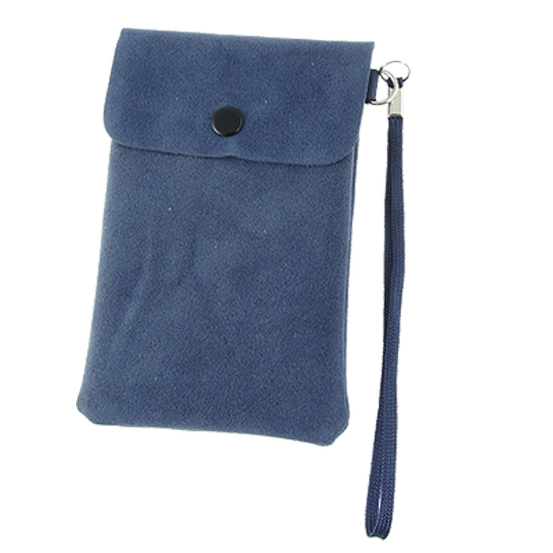 Handheld Strap Faux Suede Steel Blue Pouch Bag for MP3 Mobile Phone
