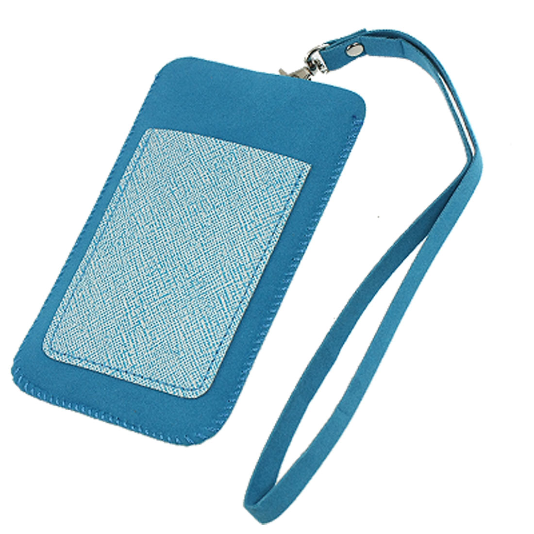 Phone MP4 PVC Faux Leather Stitched Hem Holder Cyan Blue Wrist Pouch
