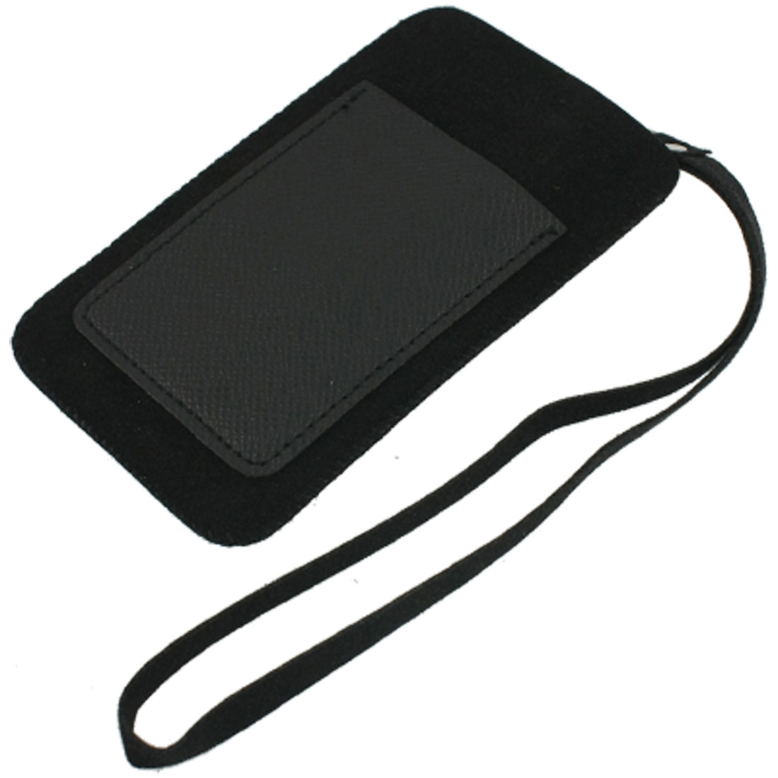 Black PVC Faux Leather Pouch 2 Compartments Cell Phone Holder