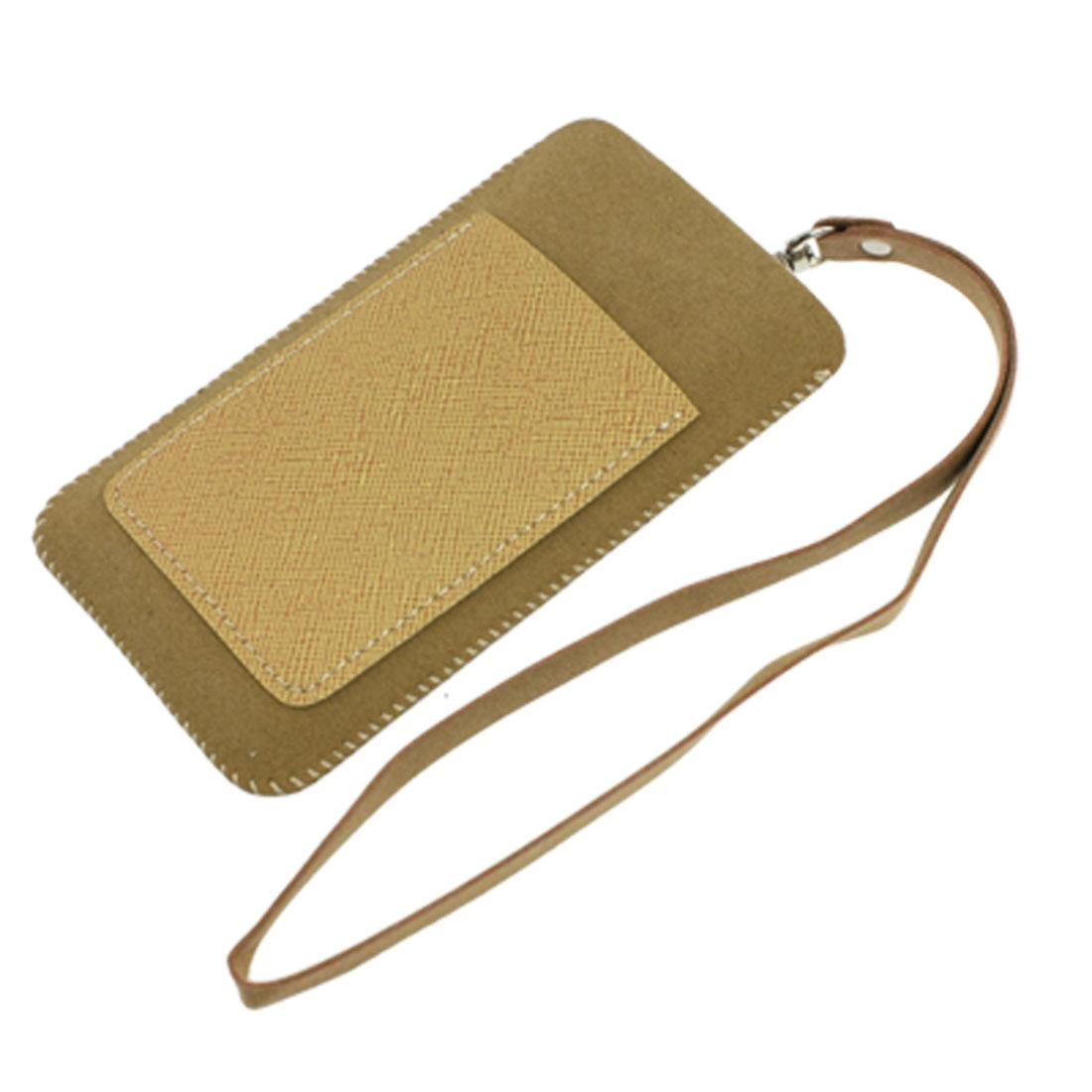 Khaki PVC Faux Leather 2 Compartments Pouch Bag