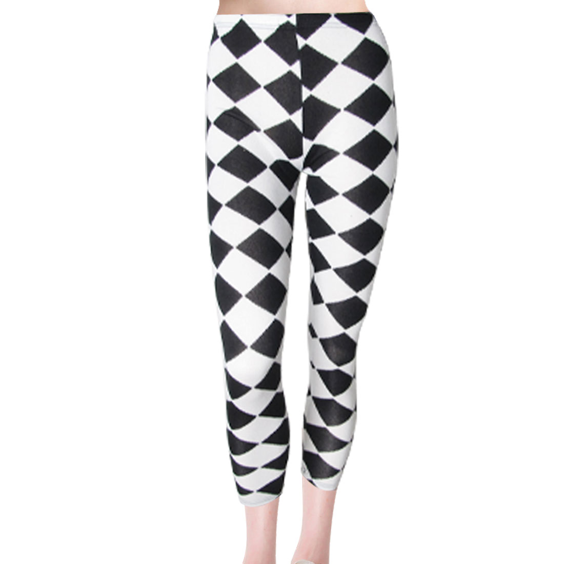 Women Elastic Waist Rib Knit Argyle Leggings Tights White Black S