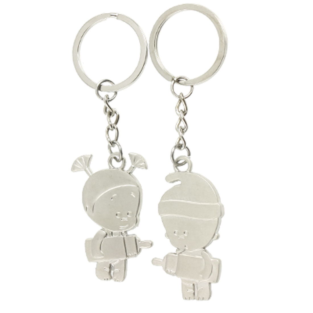 Cartoon Girl Boy Pendant Silver Tone Key Chain Keyring for Lover