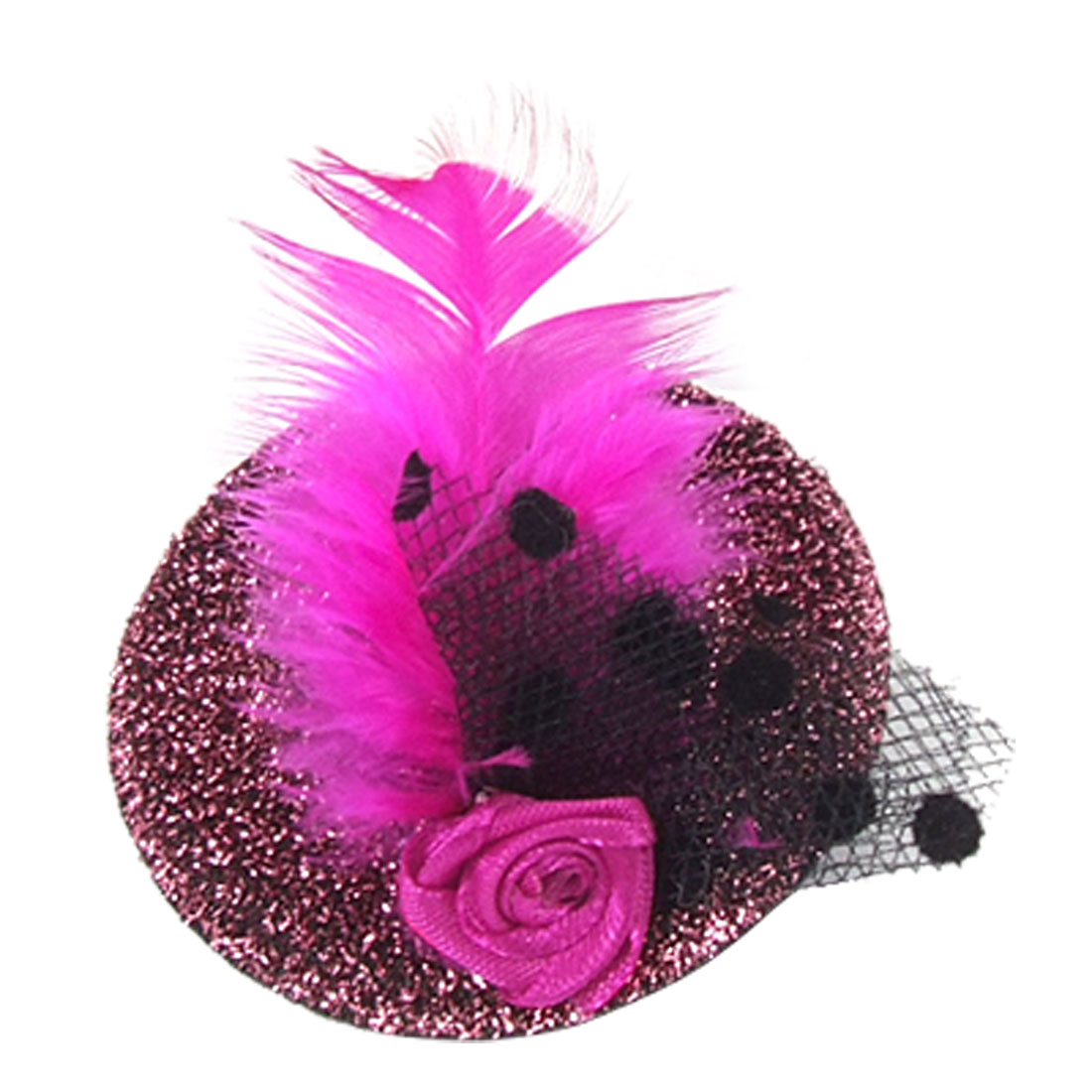 Women Wedding Glittery Pink Mini Top Hat Feather Flower Mesh Hair Fascinator
