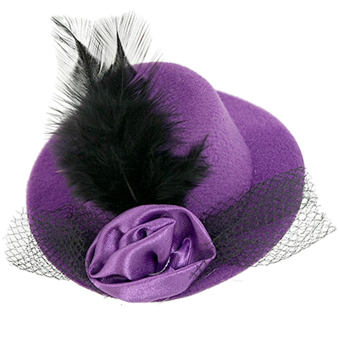 Party Ball Feather Flower Detail Purple Mini Top Hat Hairclip Decor