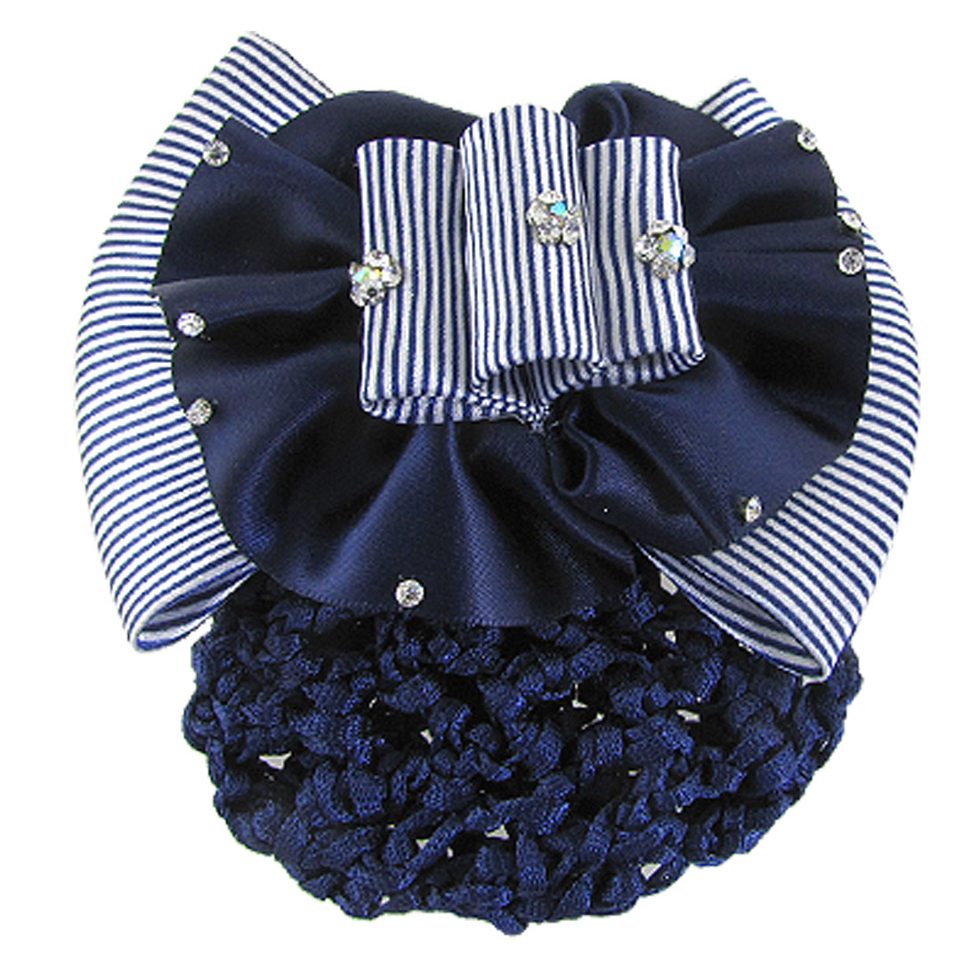 Blue White Stripe Bowknot Barrette Hair Clip w Snood Net