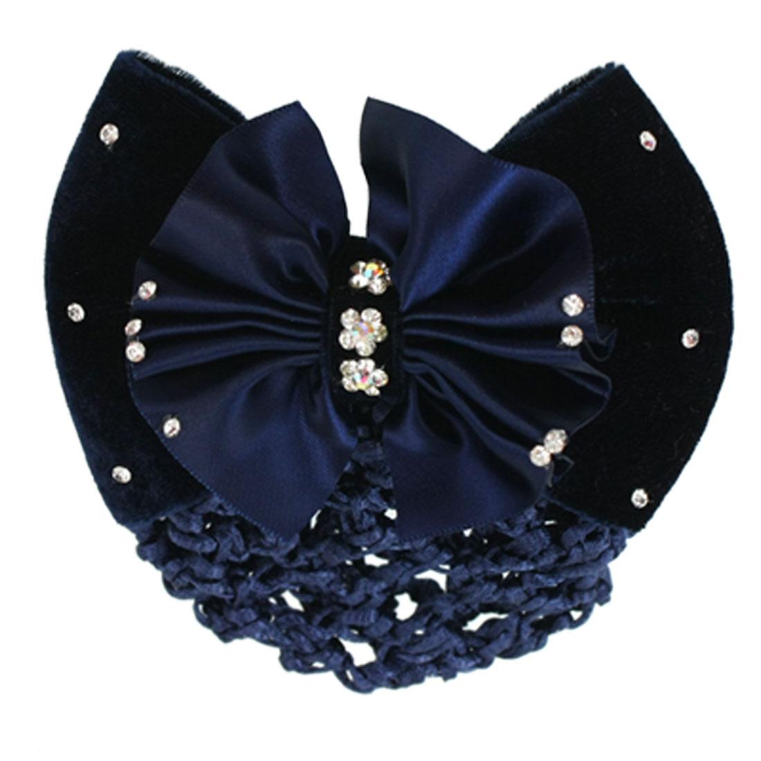 Woman Steel Blue Ruffled Bowktie Decor Barrette Hair Clip Snood Net