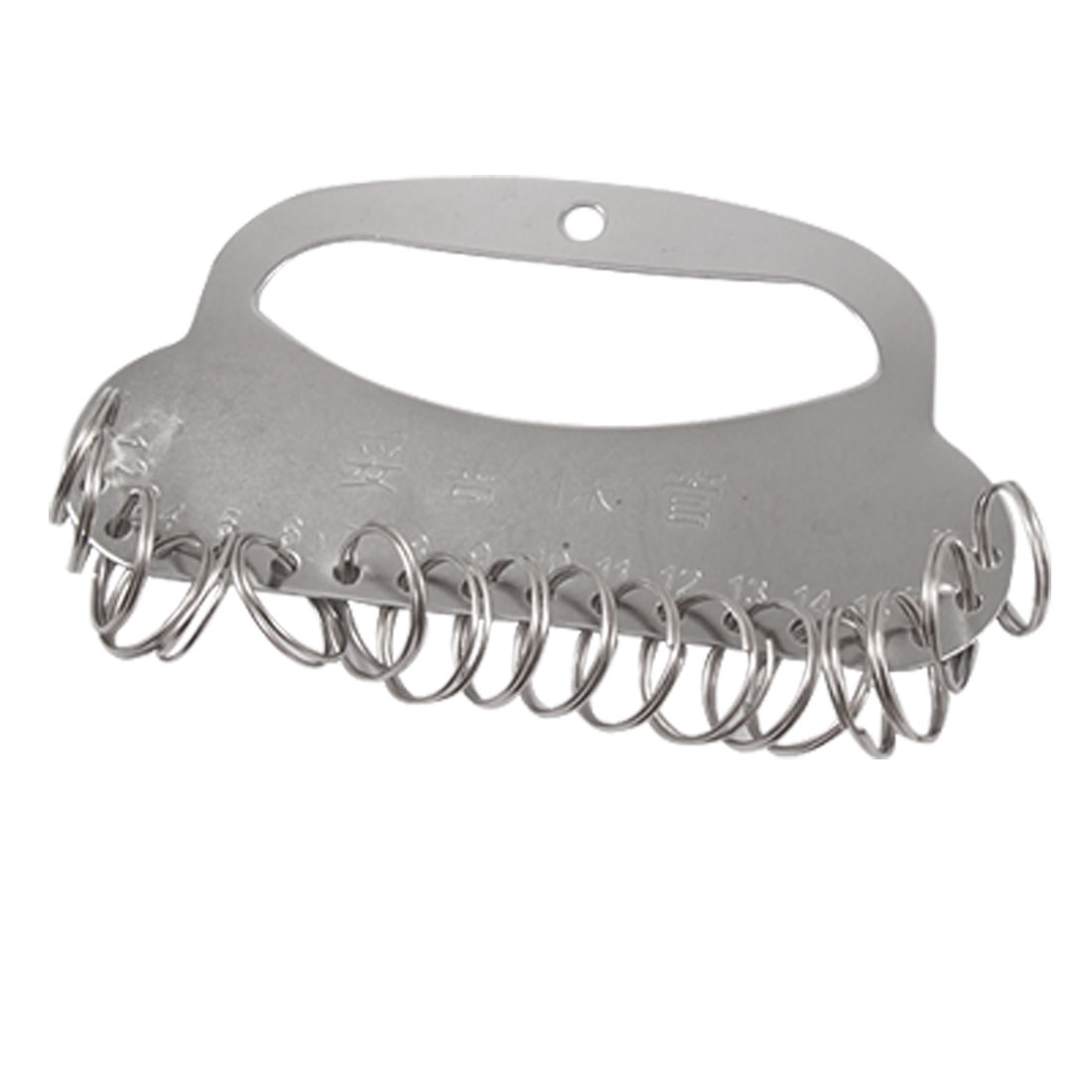 18-Ring Silver Tone Metal Keys Organizer Holder