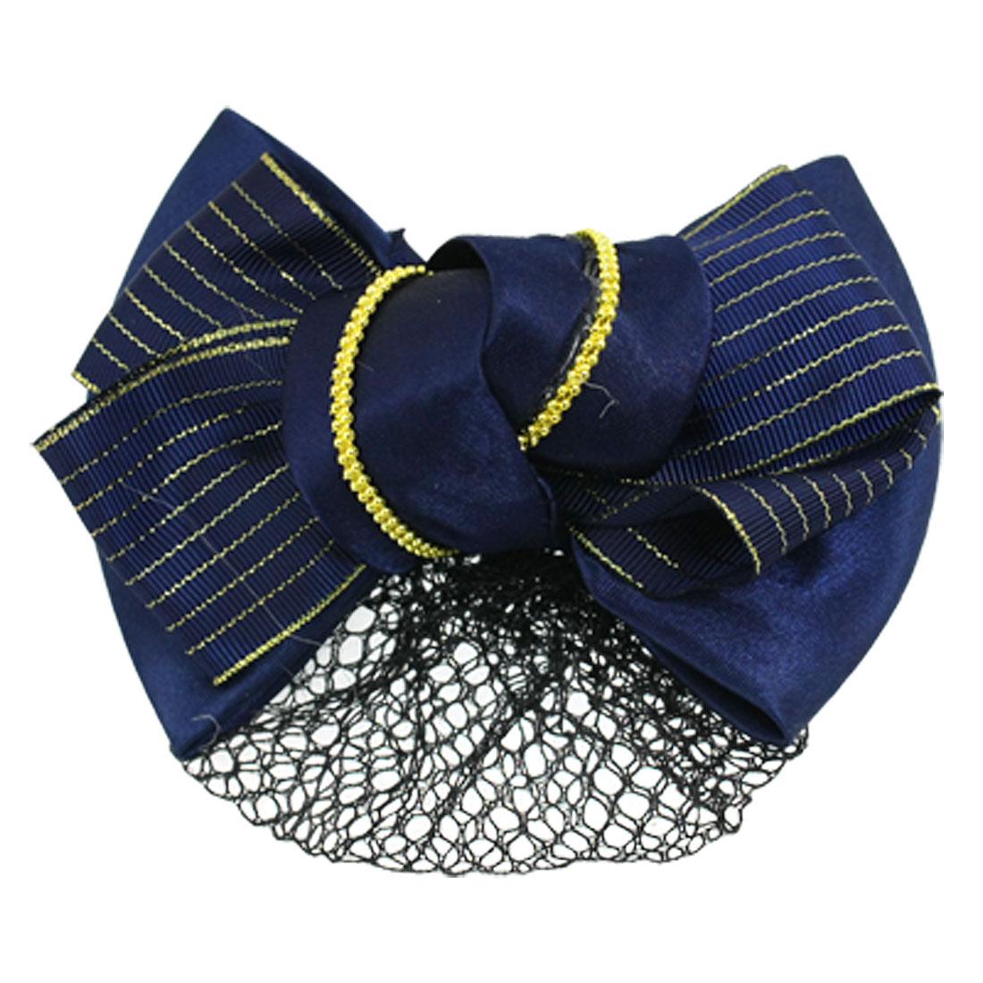 Woman Gold Tone Thread Accent Dark Blue Snood Net Bowknot Hair Clip