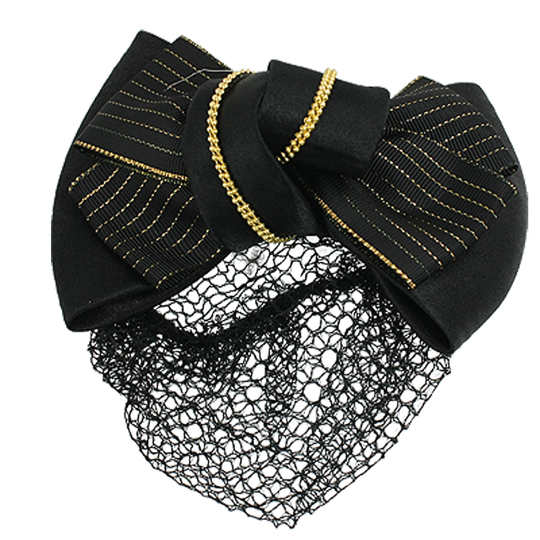 Women Snood Net Barrette Gold Tone Beads Decor Black Hair Clip