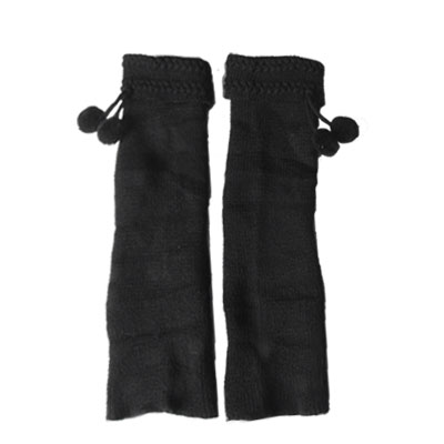 Women Pom Pom Detail Black Knit Crochet Stretch Winter Leg Warmers Pair