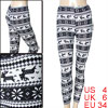 Woman White Black Snowflake Deer Print Rib Knitted Leggings Tights S