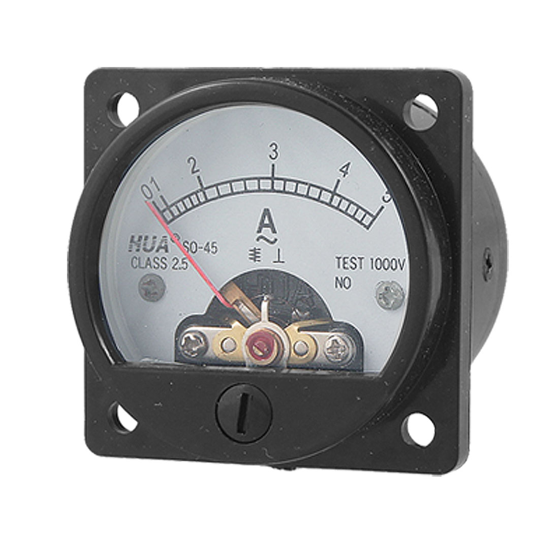 Class 2.5 Accuracy AC 0-5A Round Analog Panel Meter Ammeter Black